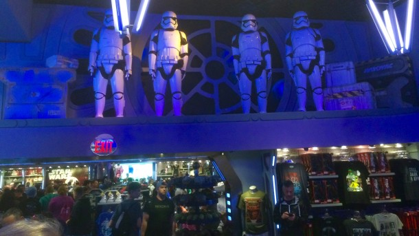 A group of First Order Troops watches over the lines in the Starcade.
