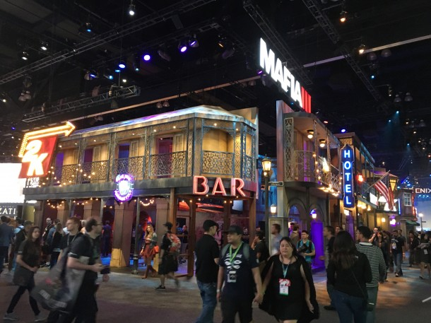 Best booth, hands down. The CAPCOM one was pretty close, but this one had a jazz band funeral procession, live band, fortunetellers and more. It promoted Mafia3.