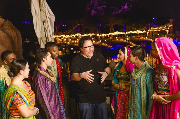 Filmmaker Jon Favreau congratulates cast members of ÒThe Jungle Book: Alive with MagicÓ