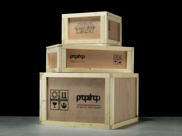 These made-to-order replicas will come with custom display pedestals, packed in branded wooden crates that are inspired by the real crates used to ship the film props. Each one is custom built to accommodate the shape of the replica inside.