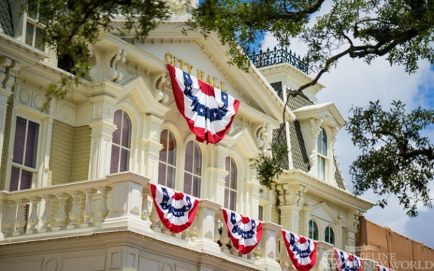 As it is now summertime, the patriotic bunting is up on Main Street USA.