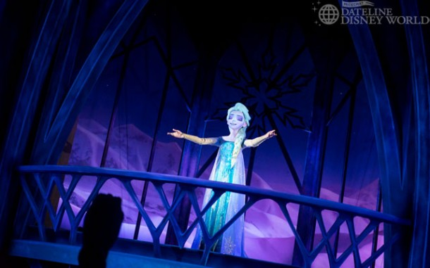 "When Elsa sings 'Let It Go', you take the former ""Back, back, over the falls"" backwards drop."