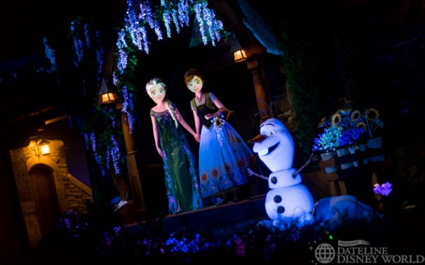 The final scene involves Anna, Elsa, and Olaf all together.
