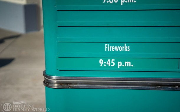 The new fireworks show goes off at 9:45 nightly.