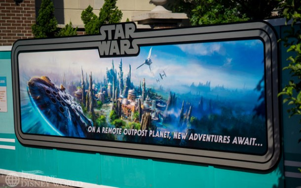 Concept art for Star Wars blocking an old entrance to the Streets of America area.