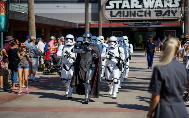 Captain Phasma leads the troopers to the stage in the center of the park.
