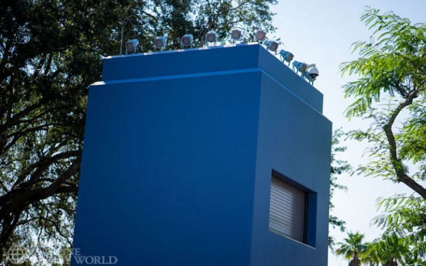 Permanent control tower in the center of the park for Star Wars stage and fireworks shows.
