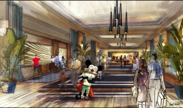 "Concept art of the lobby for the proposed new hotel at the Disneyland Resort. The approximately 700 room hotel will be located on 10 acres on what is currently the Downtown Disney parking lot. The proposed hotel would be a AAA ""Four-Diamond"" hotel."