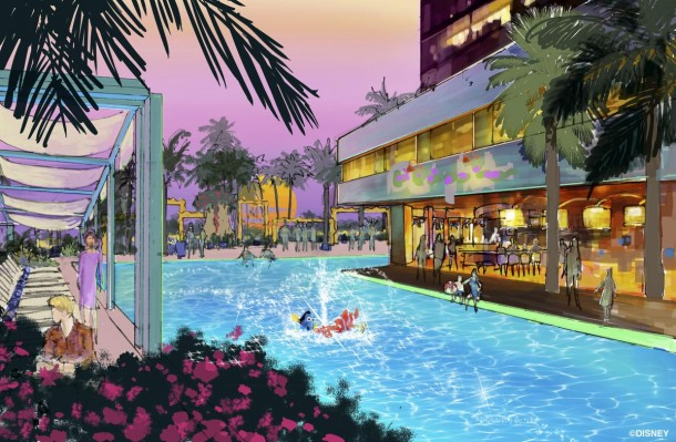 "Concept art of the swimming pool area of the proposed new hotel at the Disneyland Resort. The approximately 700 room hotel will be located on 10 acres on what is currently the Downtown Disney parking lot. The proposed hotel would be a AAA ""Four-Diamond"" hotel."