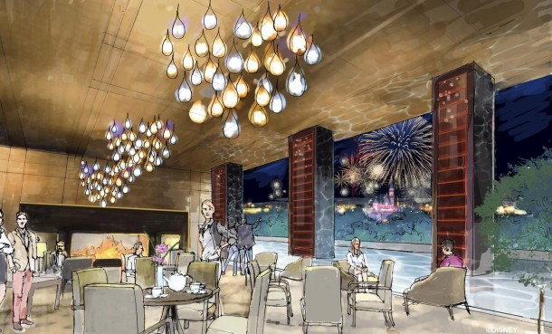 "Concept art of the rooftop restaurant at the proposed new hotel at the Disneyland Resort. The approximately 700 room hotel will be located on 10 acres on what is currently the Downtown Disney parking lot. The proposed hotel would be a AAA ""Four-Diamond"" hotel."