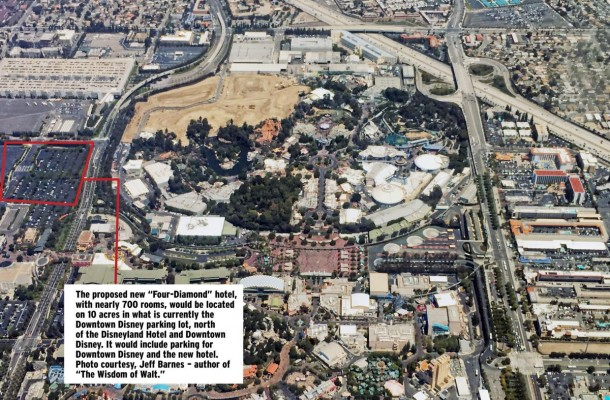 "An aerial view of the Disneyland Resort. The new proposed ""Four-Diamond"" hotel would take up 10 acres in what is currently the main Downtown Disney parking lot."