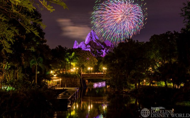 The Hollywood Studios fireworks go off right over Everest if you stand on the bridge to Harambe.