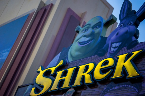One of the Shrek theaters should either be down or down soon to make way for one of this year's Horror Nights houses.