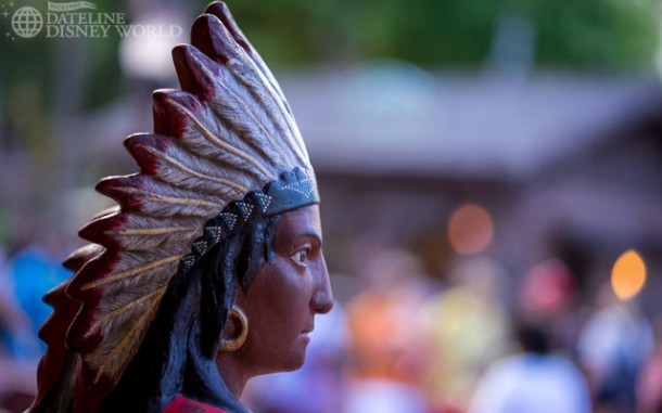 The Native American stands in Frontierland!