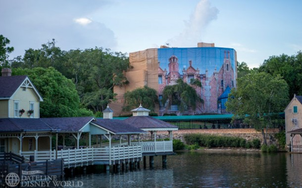 There is a large photo scrim going up on the Haunted Mansion.