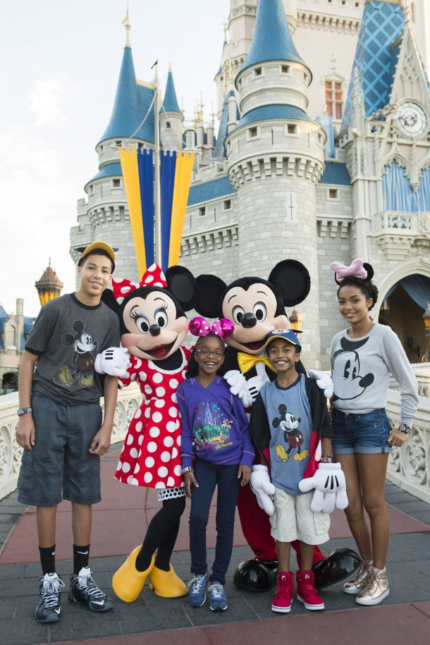"(L-R) Actors Marcus Scribner, Marsai Martin, Miles Brown and Yara Shahidi, from the cast of the ABC series ""black-ish,"" pose March 28, 2015 with Minnie Mouse and Mickey Mouse in front of Cinderella Castle at Magic Kingdom in Lake Buena Vista, Fla. ÊThe four visited Walt Disney World Resort with their families to kick off their summer break and celebrateÊthe success of the showÕs first season. (Mariah Wild, photographer)"