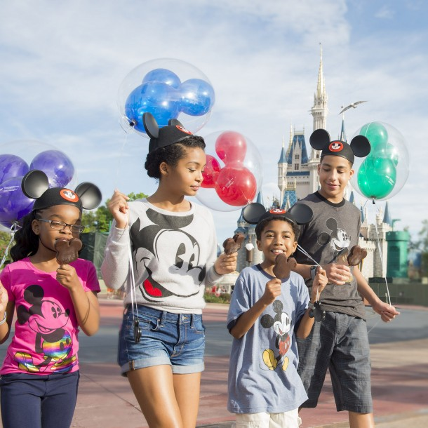 "(L-R) Actors Marsai Martin, Yara Shahidi, Miles Brown and Marcus Scribner, from the cast of the ABC series ""black-ish,"" enjoy Mickey ice cream bars March 28, 2015 in front of Cinderella Castle at Magic Kingdom in Lake Buena Vista, Fla.ÊThe four visited Walt Disney World Resort with their families to kick off their summer break and celebrateÊthe success of the showÕs first season. (Mariah Wild, photographer)"
