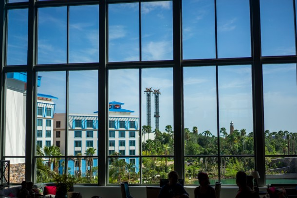 There is glass everywhere here, with some sweet views of the resort.