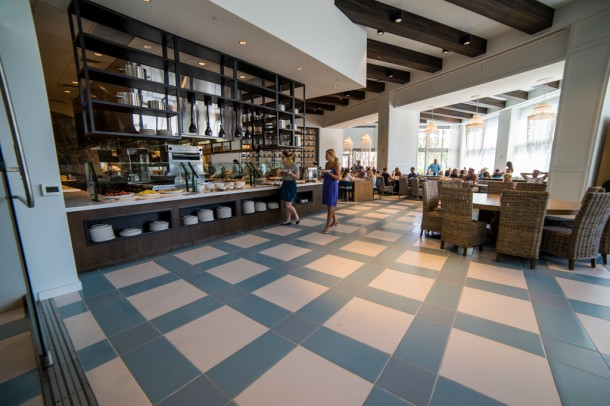 This is the sit down restaurant, Amatista, that is open for breakfast, lunch, and dinner.