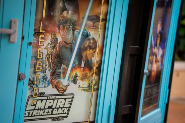 Fun vintage Star Wars posters outside the Legends of Hollywood gift shop.