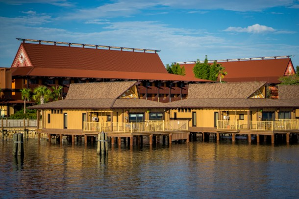 With early park hours in the summer, you can see beautiful light in the morning on Seven Seas Lagoon.