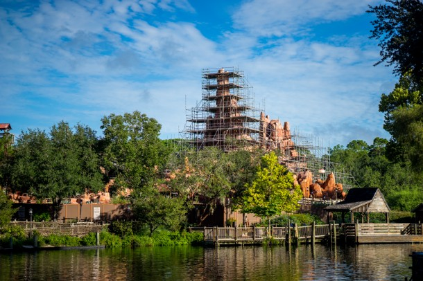 Another view of all the scaffolding on Big Thunder from across the river.