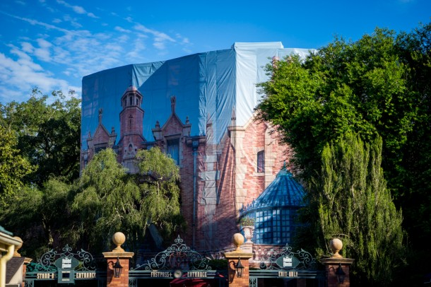 Picture scrim still up at the Haunted Mansion.
