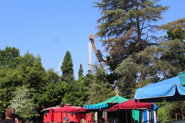 From Fantasyland, cranes could be seen placing new I-beams into the area where the Skyway Chalet stood a few months ago.