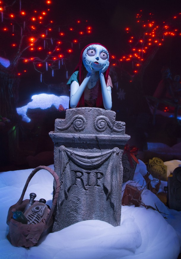 HAUNTED MANSION HOLIDAY RETURNS WITH NEW MAGIC -- Jack Skellington brings a unique spark to the season as Haunted Mansion Holiday returns to Disneyland park to celebrate the collision between Halloween and Christmas through Jan. 8, 2017. New this year to this seasonal offering inspired by Walt Disney Pictures classic ÒTim BurtonÕs The Nightmare Before Christmas,Ó is Jack's friend Sally who joins him in the Mansion graveyard. (Scott Brinegar/Disneyland)