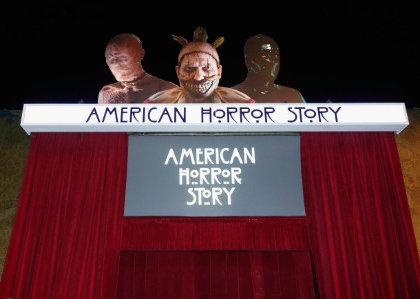 "UNIVERSAL CITY, CA - SEPTEMBER 16:  A general view of the American Horror Story maze entrance at the Universal Studios ""Halloween Horror Nights"" opening night at Universal Studios Hollywood on September 16, 2016 in Universal City, California.  (Photo by Rich Polk/WireImage)"