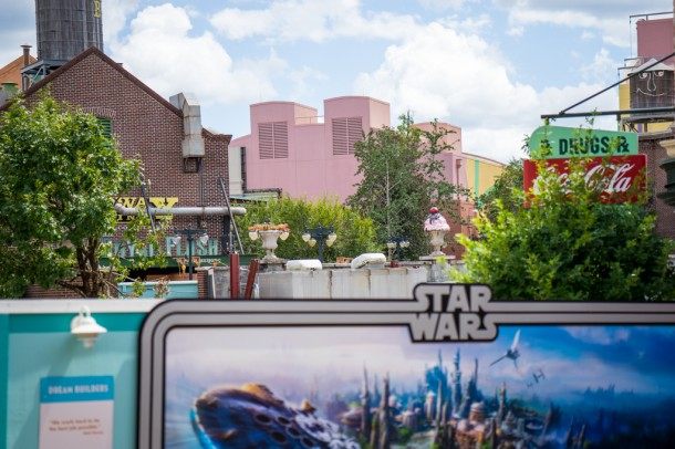 Over by the Streets of America, one whole side has been demolished making way for Star Wars.