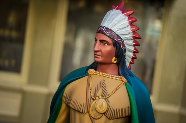 The Native American statue is back after being gone for refurbishment.