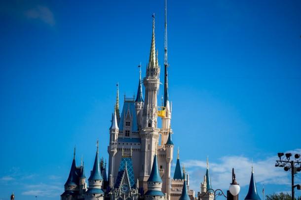 Crane at Cinderella Castle for repainting.