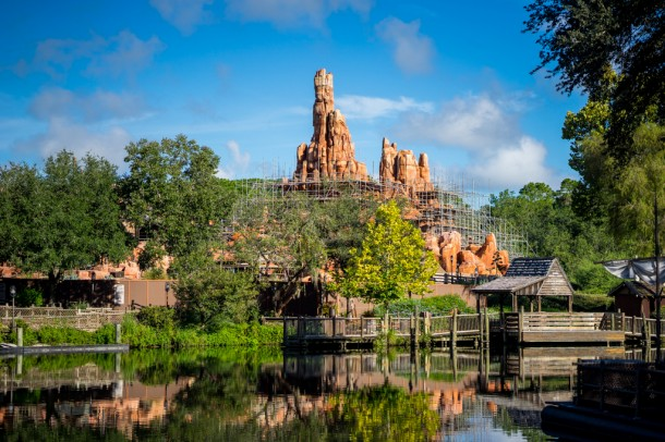 Refurbishment continues on Big Thunder Mountain Railroad.
