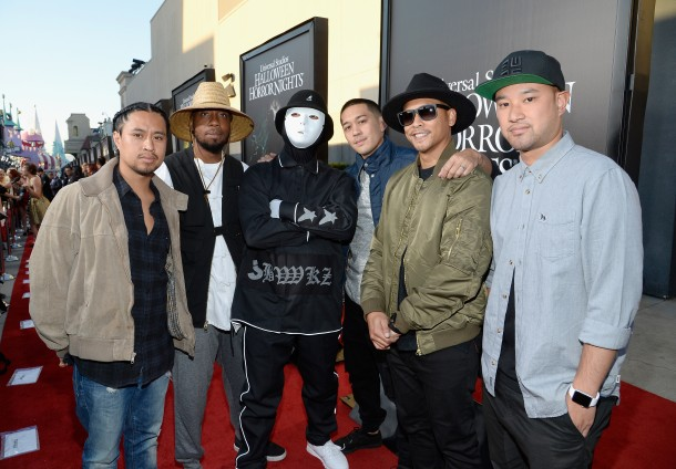 "UNIVERSAL CITY, CA - SEPTEMBER 16:  (L-R) Dancers Phil Tayag, Kevin Brewer, Joe Larot, Jeff Nguyen and Rynan Paguio of the Jabbawockeez attend Universal Studios ""Halloween Horror Nights"" opening night at Universal Studios Hollywood on September 16, 2016 in Universal City, California.  (Photo by Kevork Djansezian/WireImage)"