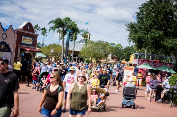 By the time 12 or 1pm roll around, World Showcase gets very busy.