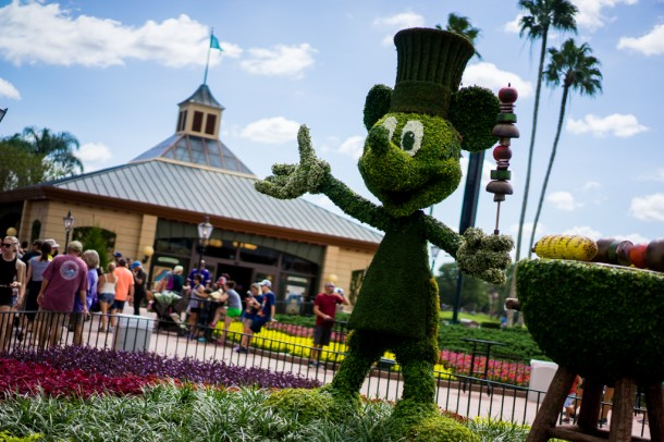 There is a Mickey topiary at the entrance to World Showcase.