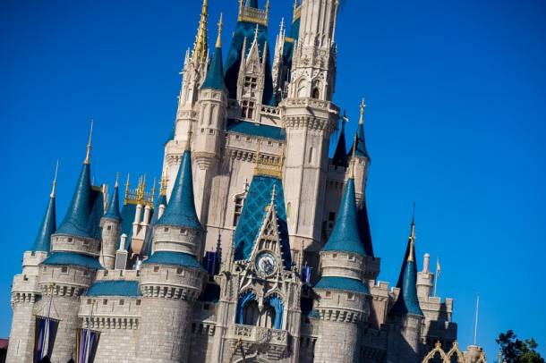 The Dream Lights are installed on Cinderella Castle