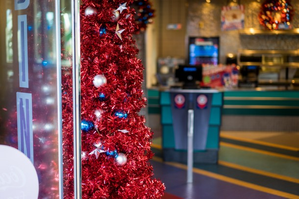 Yes, those are Christmas trees in the Captain America Diner.