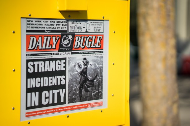 There is a Daily Bugle newspaper dispenser. This is very interesting given Universal's Marvel presence in their park.
