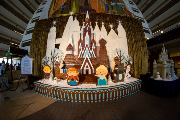 Starting at the Contemporary, we once again have the Mary Blair inspired Frozen display.