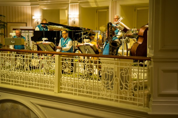 The Grand Floridian Society Orchestra was playing holiday tunes.