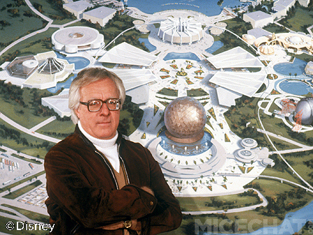 Legendary author Ray Bradbury with a model of EPCOT