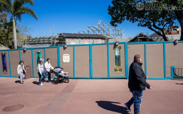 Frozen themed areas were still being constructed early in the year.