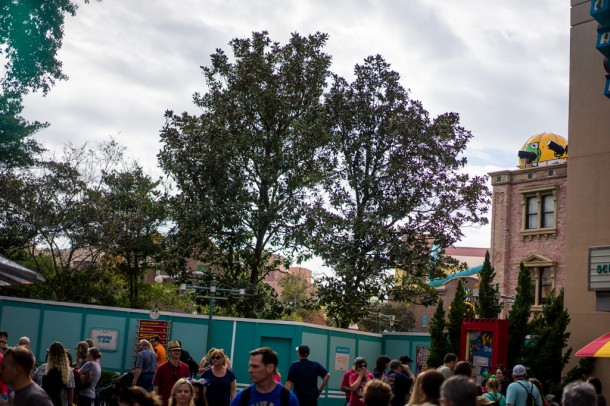 More trees blocking Star Wars construction on the old Street of America lot.
