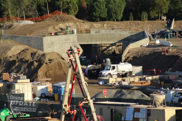 This is the entrance to Star Wars Land from Fantasyland. The Disneyland Railroad will pass over this tunnel.