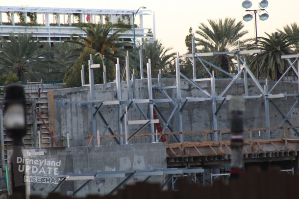 Near Critter Country, this concrete and steel skeleton is where the Disneyland Railroad will cross in front of a waterfall on the edge of the Rivers Of America.