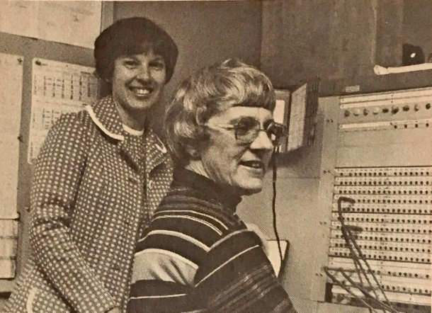 They'll be joined by Becky Morris (left), longtime chief PBX operator for Disneyland, shown here in 1977 at the switchboard with Virginia Swan.