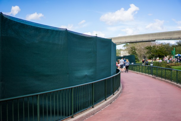 On the path from World Showcase to Future World, big green tarps are up. My only guess would be Flower and Garden preparation.