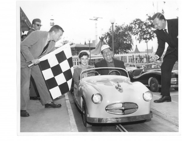 Ray Webster (far right), who welcomed Indy driver Marshall Teague and his daughter Patty, to celebrate the grand opening of Disneyland's Midget Autopia in 1957, will be a featured panelist at the MiceChat anniversary event.